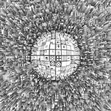 Abstract city with skyscrapers. View from above on an abstract city with skyscrapers around a massive sphere in the center, made of different geometric shapes vector illustration
