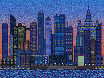 Abstract city on sunset - mosaic. Background Stock Photo
