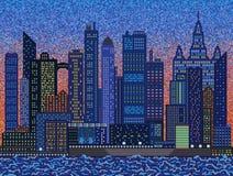 Abstract city on sunset - mosaic. Background stock illustration