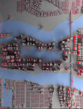Abstract city top view. Abstract city with red light top view. 3d rendering Royalty Free Stock Photo