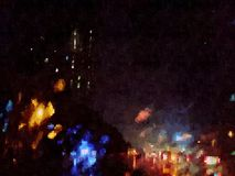 Abstract city traffic, digital art. Jakarta street lights Stock Photo
