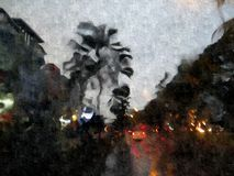Abstract city traffic, digital art. Jakarta street lights Royalty Free Stock Photography