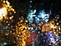 Abstract city traffic, digital art. Jakarta street lights Royalty Free Stock Images
