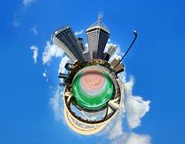 Abstract city view and bridge Stock Photography