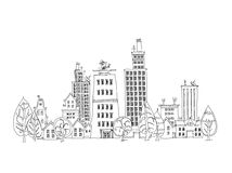 Abstract city view business aria, Sketch collection Royalty Free Stock Photo