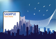 Abstract Cityscape. Cityscape at night with sample text space vector illustration