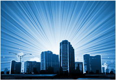 Abstract cityscape background. Abstract vector background, sun ray explosion. Nature or B=business background Stock Photos