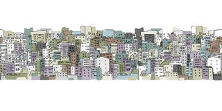 Abstract cityscape background, seamless pattern for your design Royalty Free Stock Photography