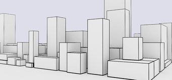 Abstract cityscape cartoon style. Abstract cityscape skyline cartoon style Stock Illustration