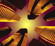 FUTURISTIC CITY ABSTRACT CITYSCAPE BACKGROUND Royalty Free Stock Photography