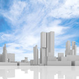Abstract cityscape over blue cloudy sky. Abstract contemporary cityscape over blue cloudy sky, tall houses, industrial buildings and office towers. 3d render vector illustration