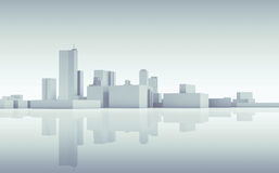 Abstract cityscape skyline. Blue toned 3d Royalty Free Stock Photo
