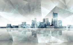 Abstract cityscape skyline. Blue toned 3 d render Stock Photos