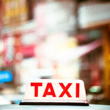 Abstract cityscape with taxi car at night city. Hong Kong Royalty Free Stock Photo
