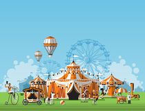 Abstract Classical Circus tent. Vector illustration of circus tent. Trade fair complex in the meadow Royalty Free Stock Photography