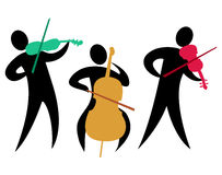 Abstract Classical String Trio/eps. Colorful abstract illustration of a classical string trio with two violinists and a cellist Stock Image