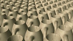 Abstract clay pitchers in rows in brown stock footage