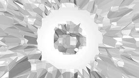 Abstract clean black and white low poly waving 3D surface as crystal cell. Grey geometric vibrating environment or royalty free illustration