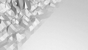 Abstract clean black and white low poly waving 3D surface as vivid environment. Grey geometric vibrating environment or