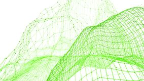 Abstract clean green waving 3D grid or mesh as beautiful background. Green geometric vibrating environment or pulsating