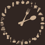 Abstract clock. Made of spoon, fork and food Royalty Free Stock Images