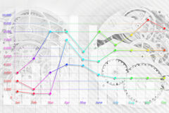 Abstract clock and business graph Stock Images