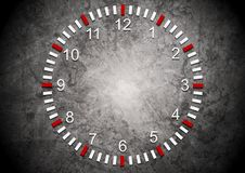Abstract clock on grunge wall Royalty Free Stock Photo