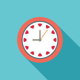 Abstract Clock With Hearts Stock Photo
