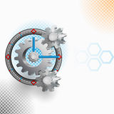 Abstract Clock mechanism with squares backdrop Stock Image