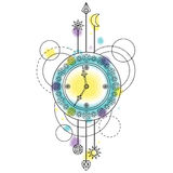 Abstract Clock Symbol. Abstract techno pattern with clock and geometric elements on white background. Modern tattoo symbol with watercolor effect Stock Photography