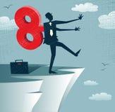 Abstract Clockwork Businessman walks off a cliff. Stock Image