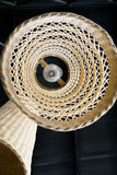 Abstract close up from bottom of weave lamp Asian style hanging on ceiling Stock Images