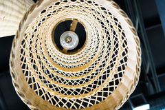 Abstract close up from bottom of weave lamp Asian style hanging on ceiling Stock Photography