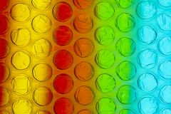 Abstract close up bubble wrap sheet with colorful background stock illustration