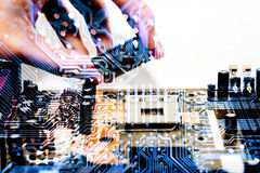 Abstract, Close up at electronic circuits, we see the technology of the mainboard, which is the important background of the comput. Er Royalty Free Stock Photo