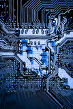 Abstract, close up of Electronic Circuits in Technology on Mainboard computer background Royalty Free Stock Photos