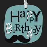 Abstract close up of hanging Happy Birthday message with mustache icon Stock Image