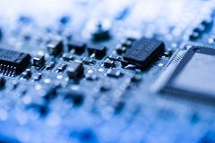 Abstract close up of Mainboard Electronic computer background blue Royalty Free Stock Photo