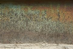 Abstract Closeup Of The Side of a Rusty Metal Drum Texture stock photo