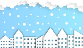 Abstract cloud with building background in winter season, vector ,illustration, paper art style, copy space. For text royalty free illustration