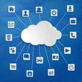Abstract cloud computing with media icons Royalty Free Stock Photo
