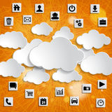 Abstract cloud computing with media icons on a striped orange ba Stock Photography