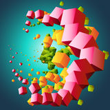Abstract cloud of cubes. Vector illustration on abstract cloud of cubes Royalty Free Stock Image
