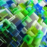 Abstract cloud of cubes. Abstract 3D cloud of color transparent cubes Royalty Free Stock Image