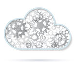 Abstract cloud from gray gears. Isolated on white background. Vector illustration Stock Photography