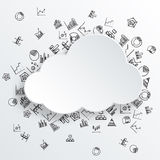 Abstract cloud with hand drawn diagram icons. Abstract speech bubble in the shape of cloud with hand drawn diagram icons on the background. Vector eps10 Stock Photos