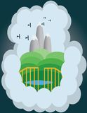 Abstract cloud illustration with silver mountains Stock Image