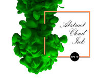Abstract cloud ink. Green color and orange border. Water paint, Stock Photography