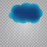 Abstract Cloud with Rain Drops on Transparent Background. Vector. Illustration. EPS10 vector illustration