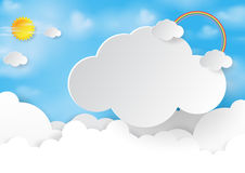 Abstract cloud and sky background. Paper art style.Vector illustration Royalty Free Stock Photography